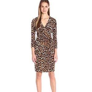 Anne Klein leopard print faux wrap dress. Sz12